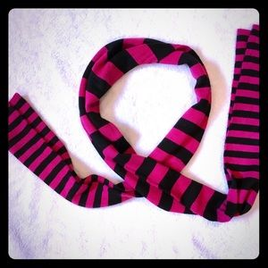 Accessories - Striped Scarf   Hot Pink & Black